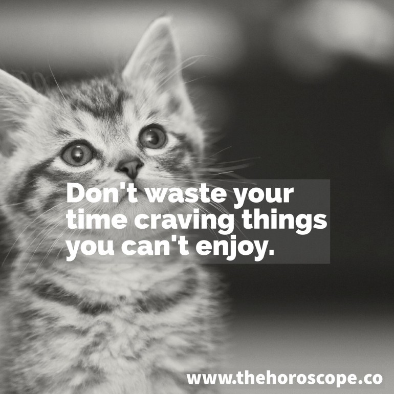 Don't waste your time craving things you can't enjoy.