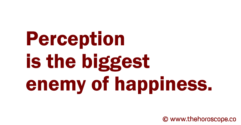 Perception is the biggest enemy of happiness.
